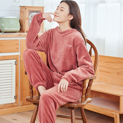 女士法兰绒暖暖2021年新款加绒睡衣