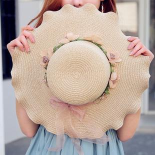 帽子女夏韩版潮防晒沙滩帽出游遮阳帽日系百搭防紫外线太阳帽草帽