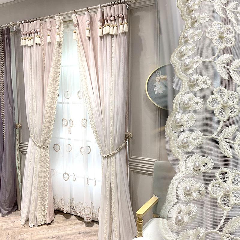 新品特价叶子绣花纱帘粉色加厚遮光衬布卧室公主房小美式法式窗帘