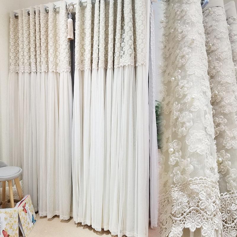 [卡汀]浪漫韩式花朵绣花花蕊珠珠装饰米色遮光公主房卧室裙摆窗帘