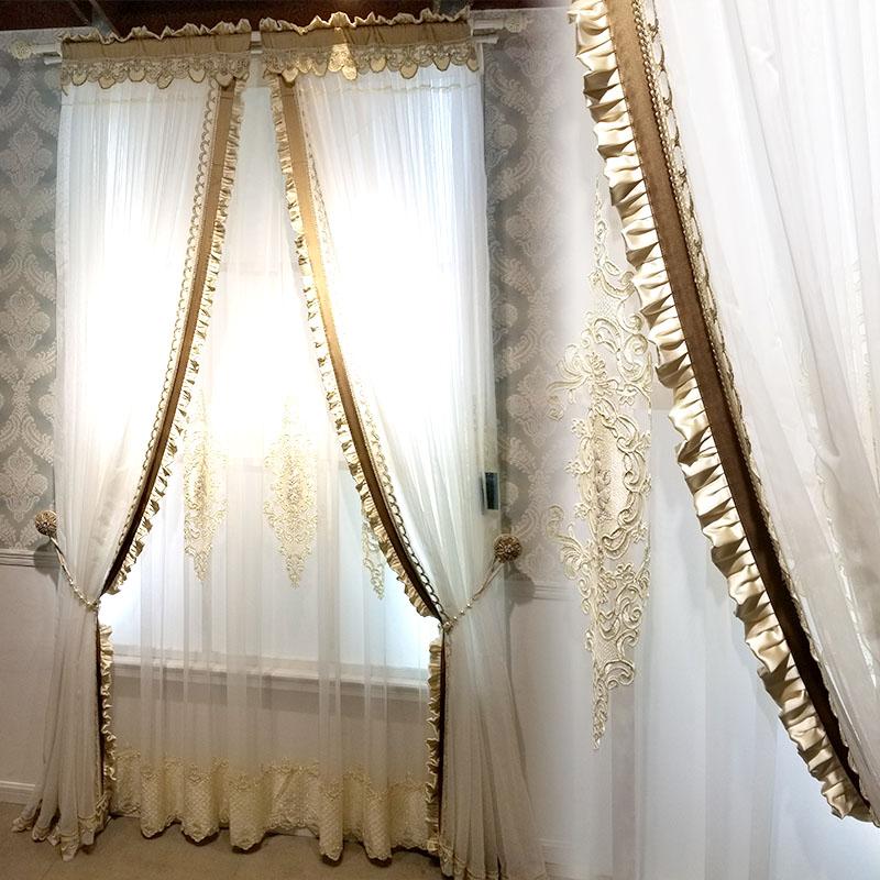 [卡汀]简约华丽美式韩式 白色纱加花边贴绒绣花纱客厅餐厅隔断纱