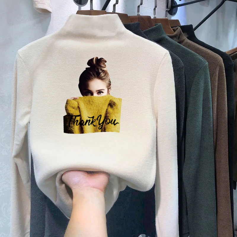 Double sided velvet T-shirt womens autumn and winter new semi high collar printing high elastic inside with warm long sleeve T-shirt womens fashion