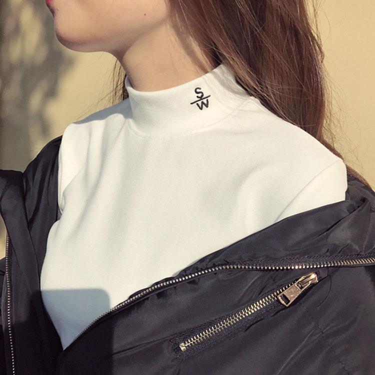 Semi high collar base coat for womens underwear autumn winter 2020 new plush thickened white Long Sleeve T-Shirt