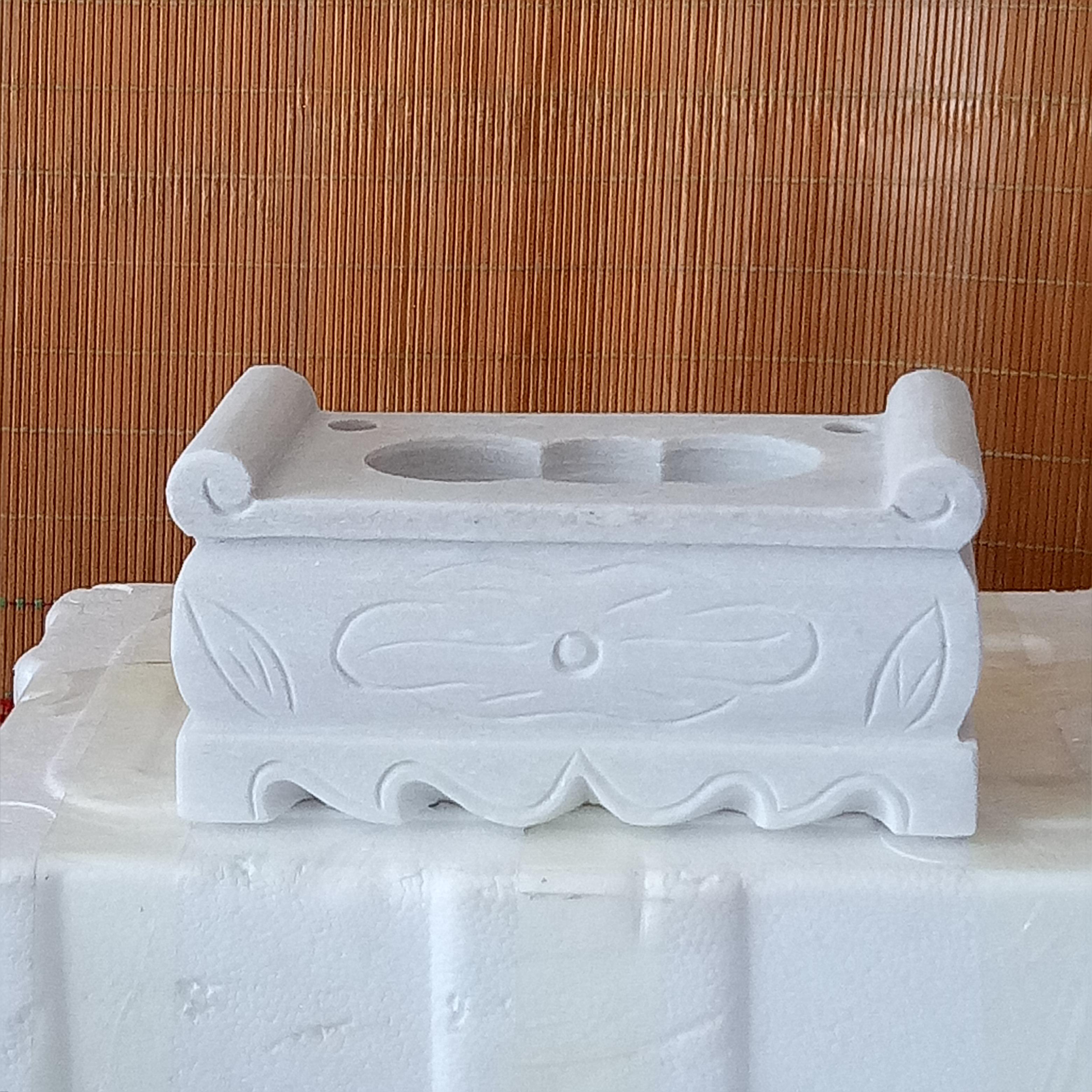 定做大理石汉白玉石材雕刻香炉供桌供台u花瓶狮子墓地墓碑祭祀摆