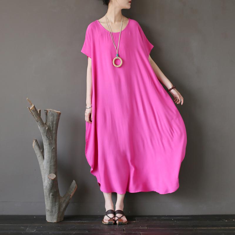 绽放风格2018夏季新款民族风女装人棉旅行袍子禅意大码纯色连衣裙
