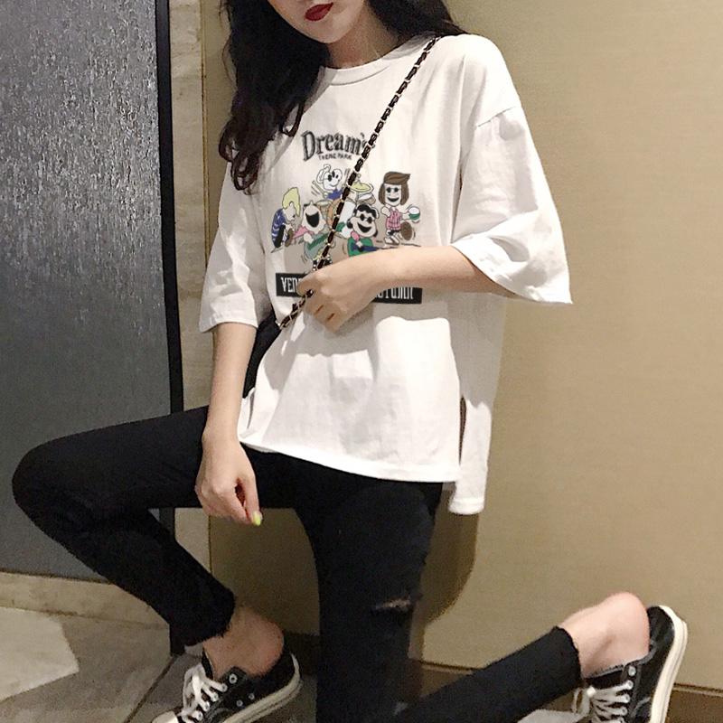 短袖女2021年夏季新款宽松白色t恤韩版ins超火纯棉学生半袖上衣潮