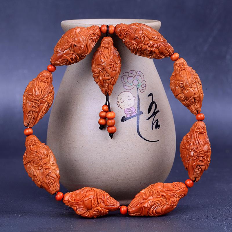 南工坊万寿无疆橄榄核手串寿星祝寿手工雕刻橄榄胡名家雕刻手把件