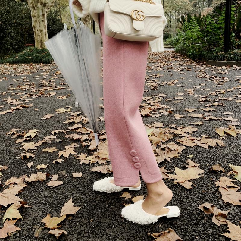 2018冬季新款女装  毛呢裤阔腿裤直筒裤休闲九分裤呢子长裤