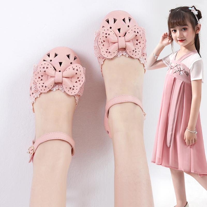 女童鞋皮凉鞋2021新款韩版春夏季中大童小公主鞋女孩时尚包头凉鞋