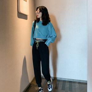 2019秋新款短款糖果色卫衣设计潮款休闲裤时尚套装韩版宽松两件套