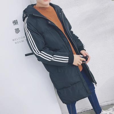2017秋冬中长款男士韩版三杠情侣加厚棉衣A426 M05 P120控价158