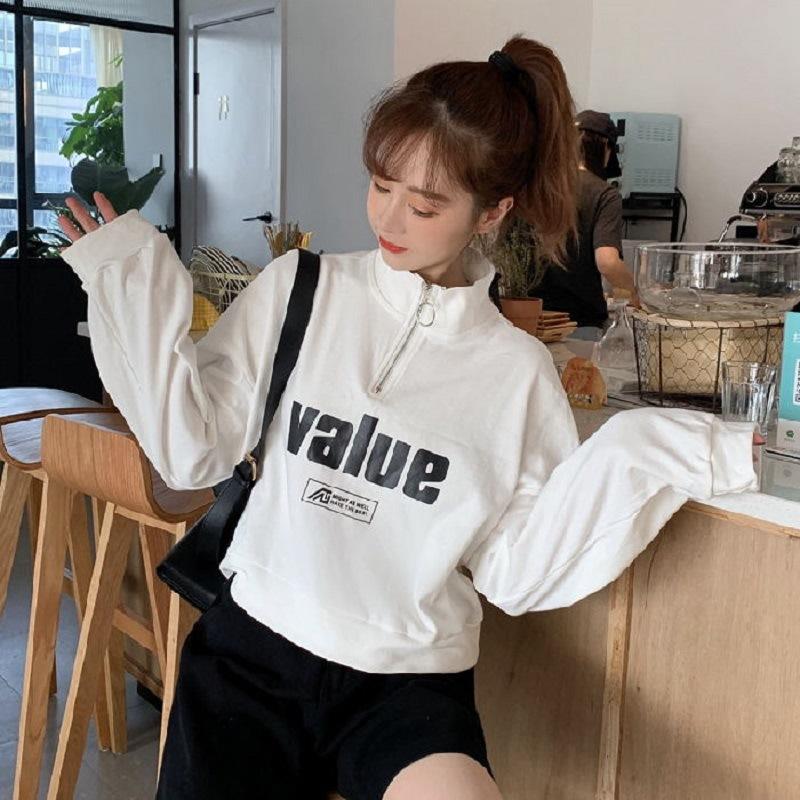 秋季新款韩版宽松半高领拉链短款卫衣女学生长袖打底衫上衣服女装