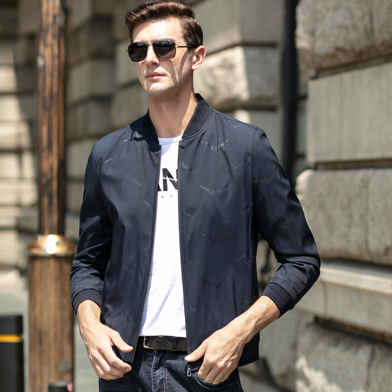 乔诺恩青年春秋款外套夹克衫韩版时尚休闲风百搭男士棒球领印花潮