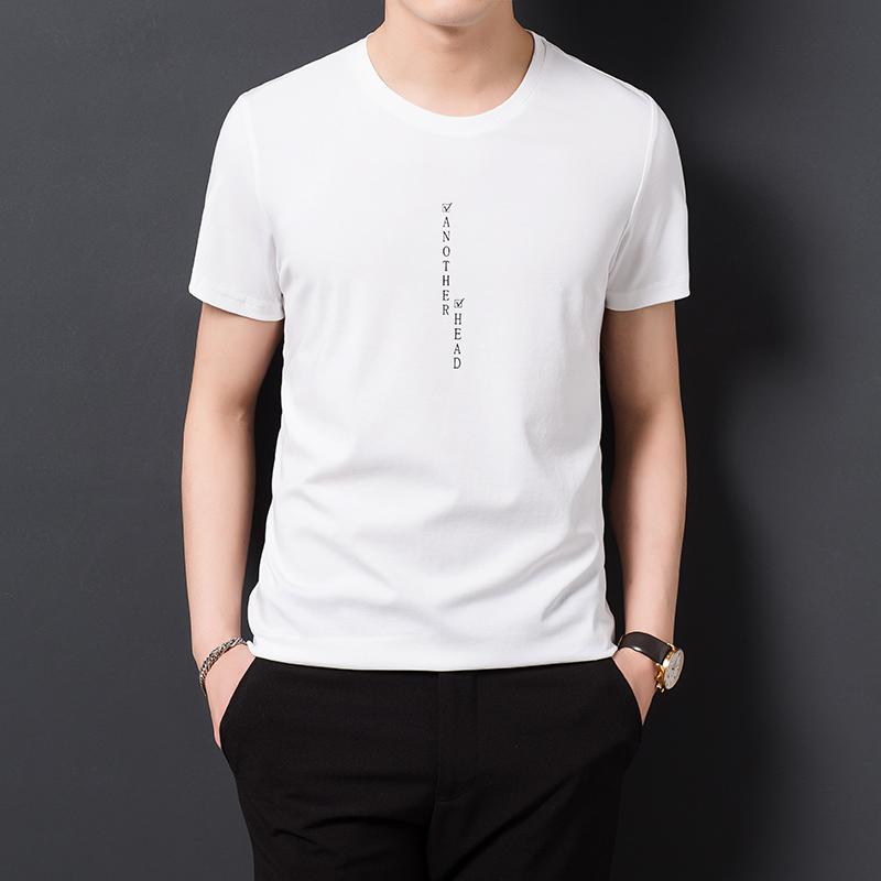 乔诺恩男士夏季休闲字母印花短袖T恤潮韩版休闲纯色圆领打底衫衬
