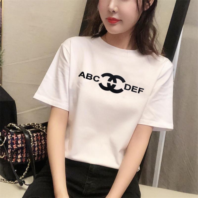 热销129件限时抢购白色短袖T恤女2019夏季新款韩版字母印花宽松显瘦纯棉体恤半袖女