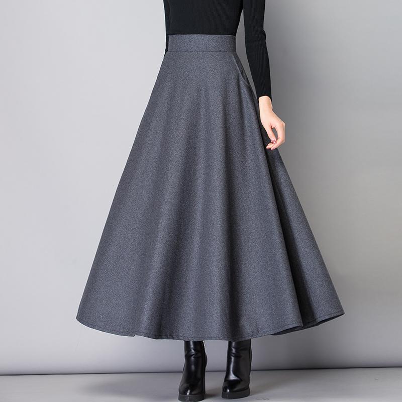 (用10元券)毛呢高腰冬季2019新款a字半身裙