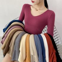 秋季新款v领长袖打底针织衫上衣秋冬百搭修身紧身薄款毛衣女内搭