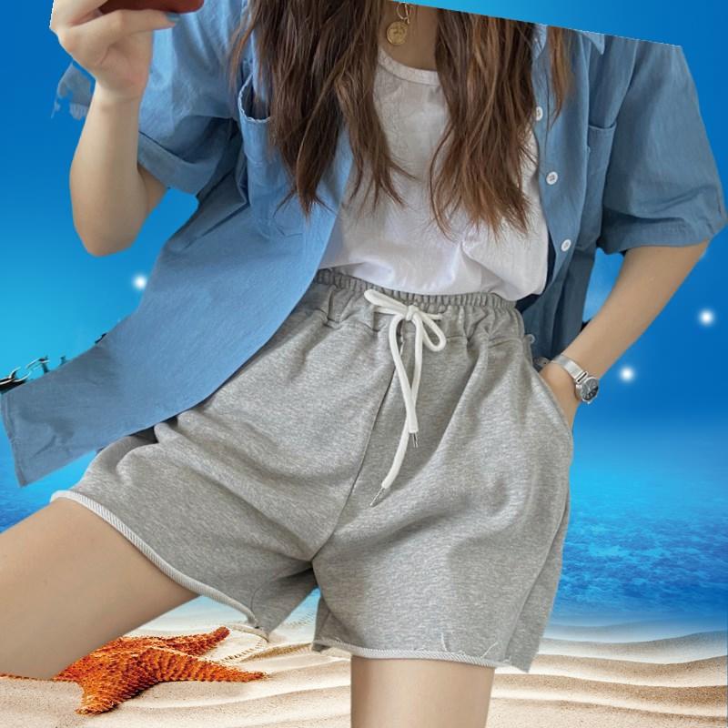 夏季韩版2020新款高腰显瘦薄款毛边运动风阔腿休闲短裤女学生裤子