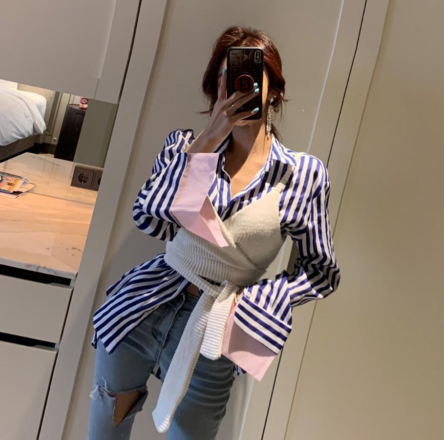 设计感条纹衬衫+背心吊带两件套女 2019秋装新款洋气韩国ins上衣