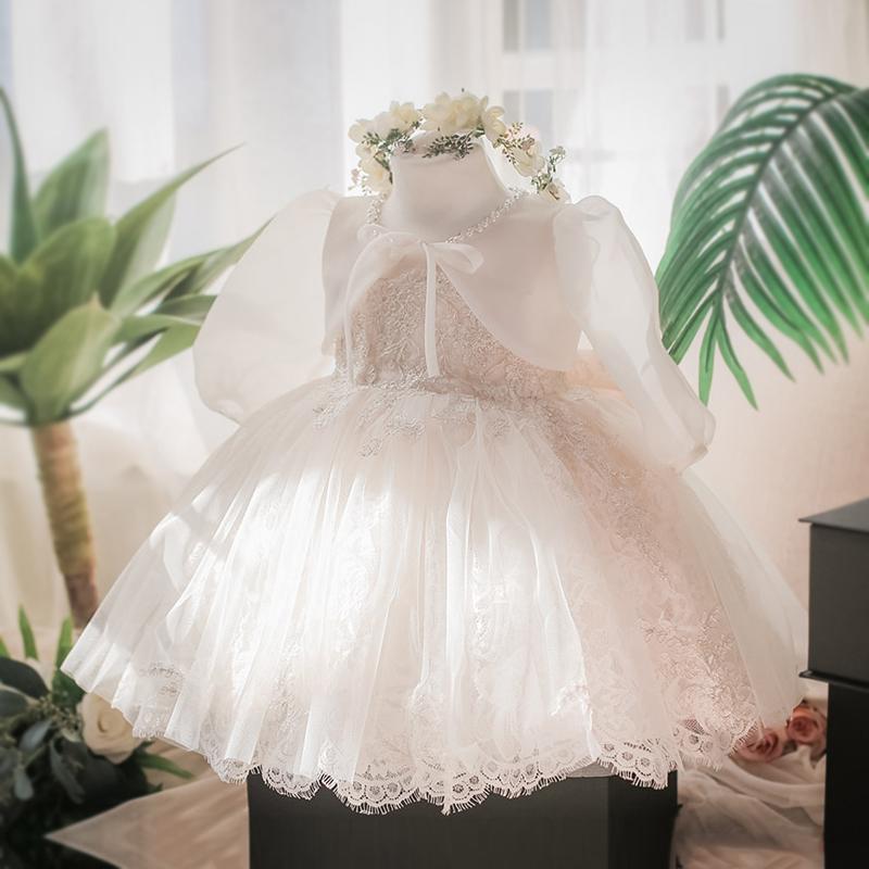 白色蕾丝公主裙女童婚纱女花童服