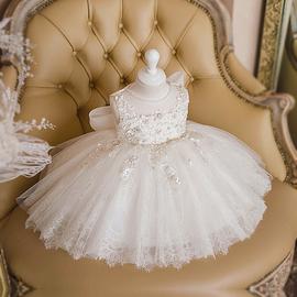 婴儿婚纱公主裙女童周岁生日礼服蓬蓬裙高腰花童连衣裙灰姑娘婚纱