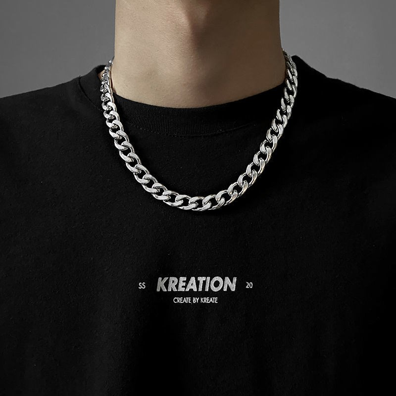 Japanese style Titanium Steel Necklaces womens niche design high level feeling does not fade thick chain Cuba chain mens fashion street