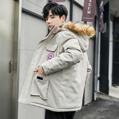 冬季韩版羽绒棉服男中长款连帽棉袄潮流毛领大衣保暖加厚外套棉衣