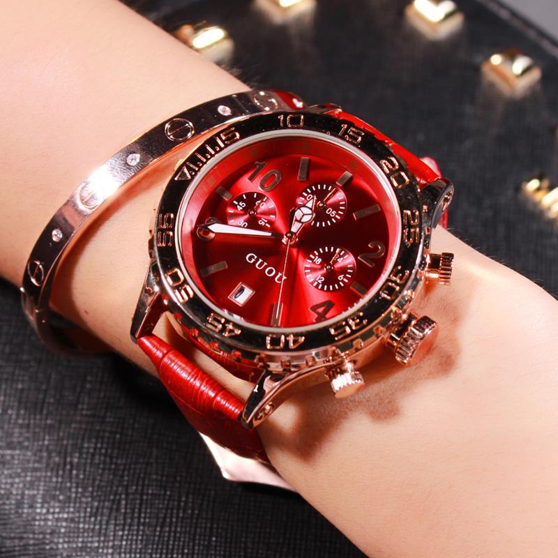 古欧大表盘女士手表名牌正品女款皮带时尚防水女式机械表国产腕表