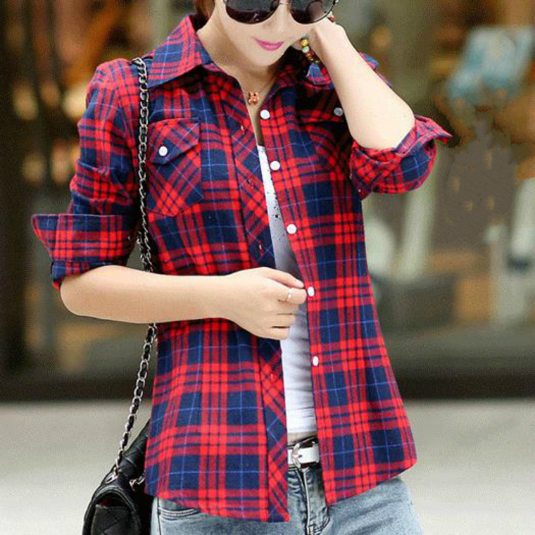 Spring and autumn womens pure cotton plaid shirt large Korean full cotton long sleeve shirt womens Japanese and Korean shirt top woman