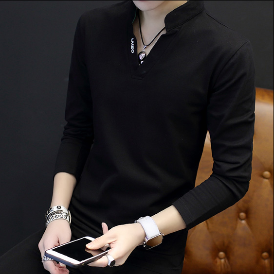 男士t恤长袖V领上衣服小衫 2018春季韩版修身打底衫潮流卫衣