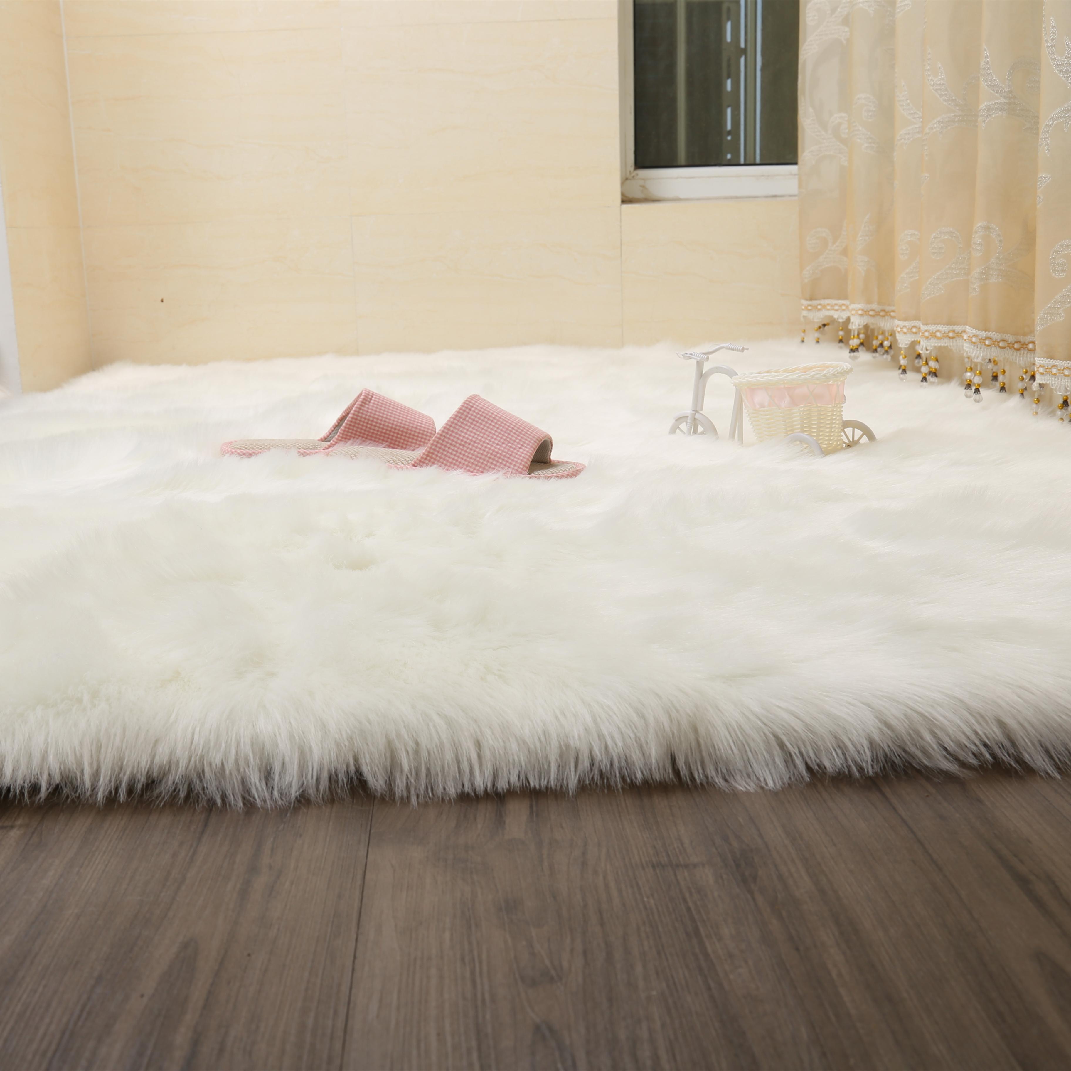 鞋柜桌面垫布网红地垫卧室车里毛毯车用白色毛毛布椅子主播毛绒布