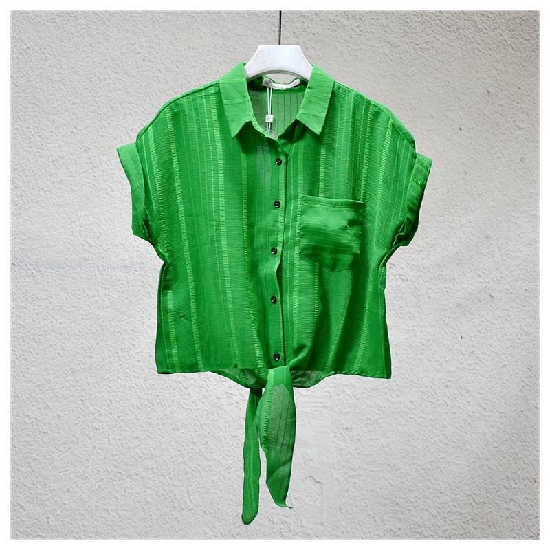 美◆系列商场撤柜专柜女装品牌折扣店剪标正品夏季新款绿色衬衫