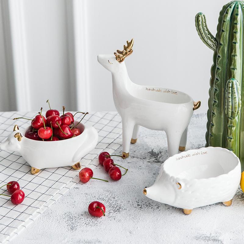 北欧风美式白色陶瓷金色描金动物造型首饰收纳水果盘创意装饰摆件