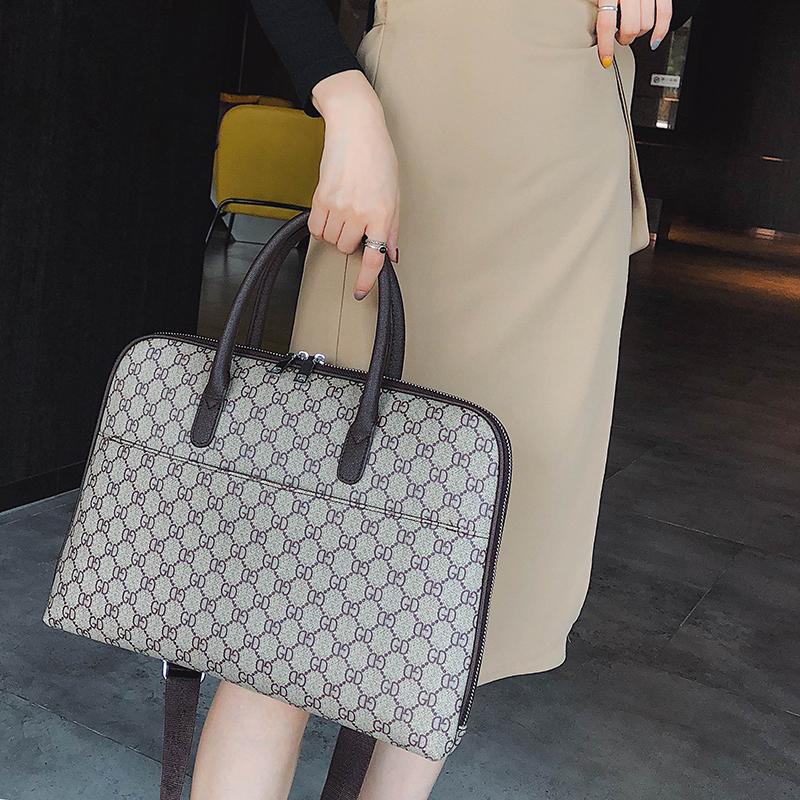 公文包女手提电脑包时尚韩版职业复古女士a4文件包大容量商务女包图片