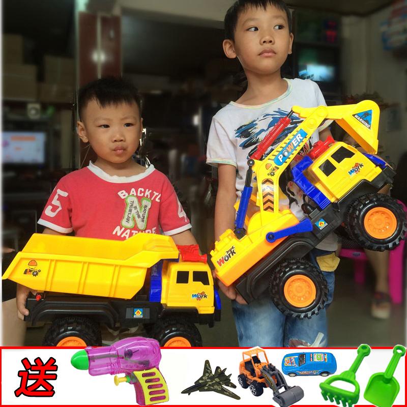 超大号挖掘机工程车玩具套装儿童滑行挖土机搅拌车翻斗车汽车模型