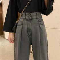 胖妹妹大码牛仔裤春装新款2020女装宽松高腰直筒阔腿裤子显瘦潮