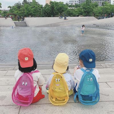 ins兒童透明果凍色可愛雙肩包旅游小背包pvc包寶寶書包游泳包