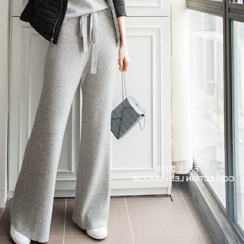 New cashmere knitted wide leg trousers in autumn and winter womens high waist draped trousers bell bottomed trousers wool trousers for external wear