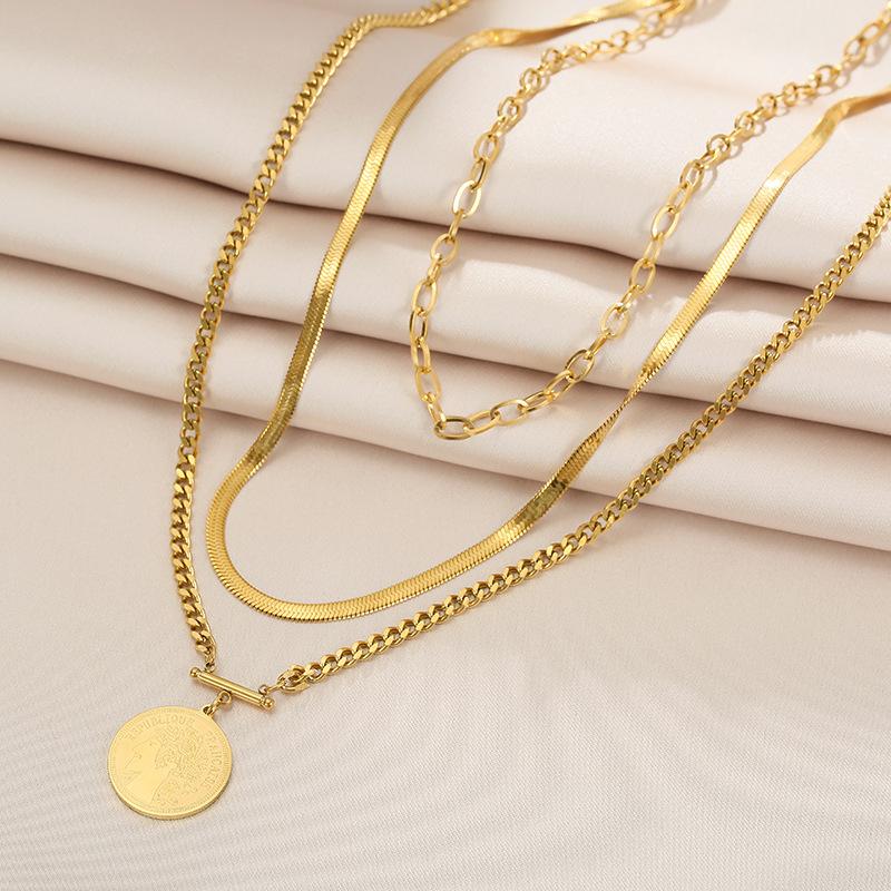 中國代購|中國批發-ibuy99|项链|冬季女神硬币钛钢项链女士18K金色吊坠三层毛衣链欧美夸张配饰品