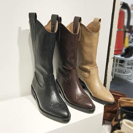 首尔留学生2019秋新款尖头套筒粗跟休闲复古西部骑士靴子潮马丁靴图片