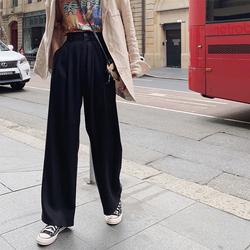 于momo2019夏装新品天丝高腰宽松拖地休闲裤洋气薄款垂感阔腿裤潮