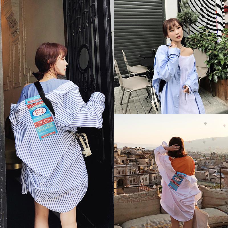 于momo2018夏季心机上衣设计感防晒衬衣oversize蓝白竖条纹衬衫女