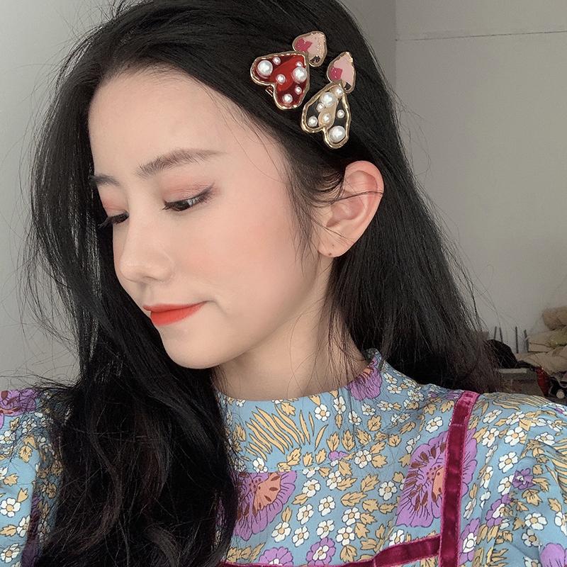 超仙!红色爱心珍珠发夹日系甜美刘海夹侧边夹子韩国发饰发卡少女