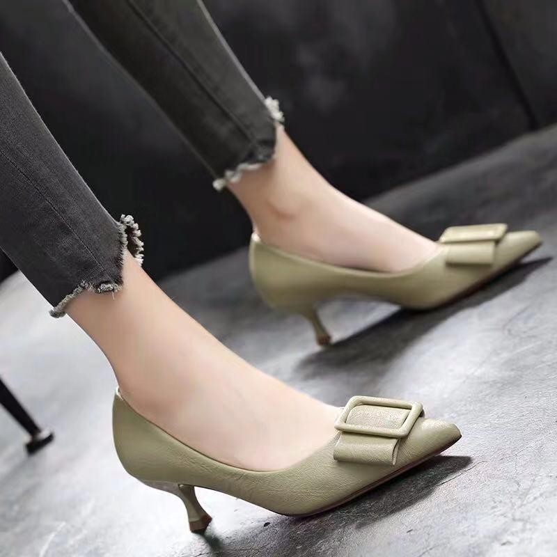 125 高跟鞋春秋黑色软皮中跟鞋不磨脚少女单鞋细跟5cm