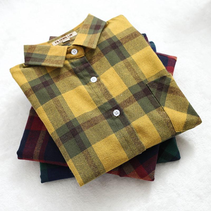 2020春季新款格子衬衫女长袖宽松磨毛百搭学生休闲韩范衬衣外套潮