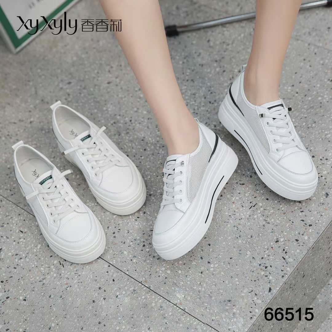2021 spring new Xiangli womens shoes 66515 middle heel flat heel mesh breathable lace up low top shoes comfortable