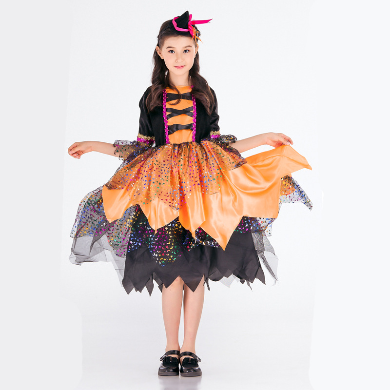 Childrens costume witches Cosplay childrens witches role play girls masquerade ball