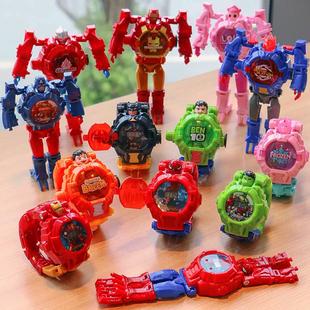 爆款 复仇者4英雄联盟人变形机甲电子表翻盖灯光手表儿童玩具礼物