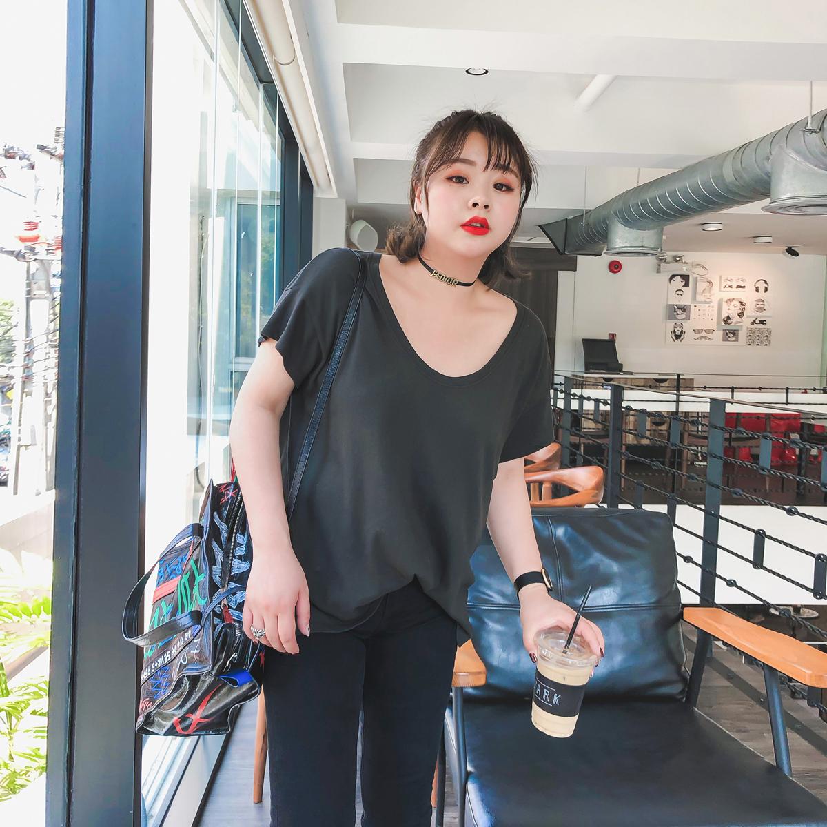 Кристалл кудахтанье домой 2018 весна новый корейский куртка женщина студент начать занятия сезон одежда свободные большой размеров T футболки женский с коротким рукавом