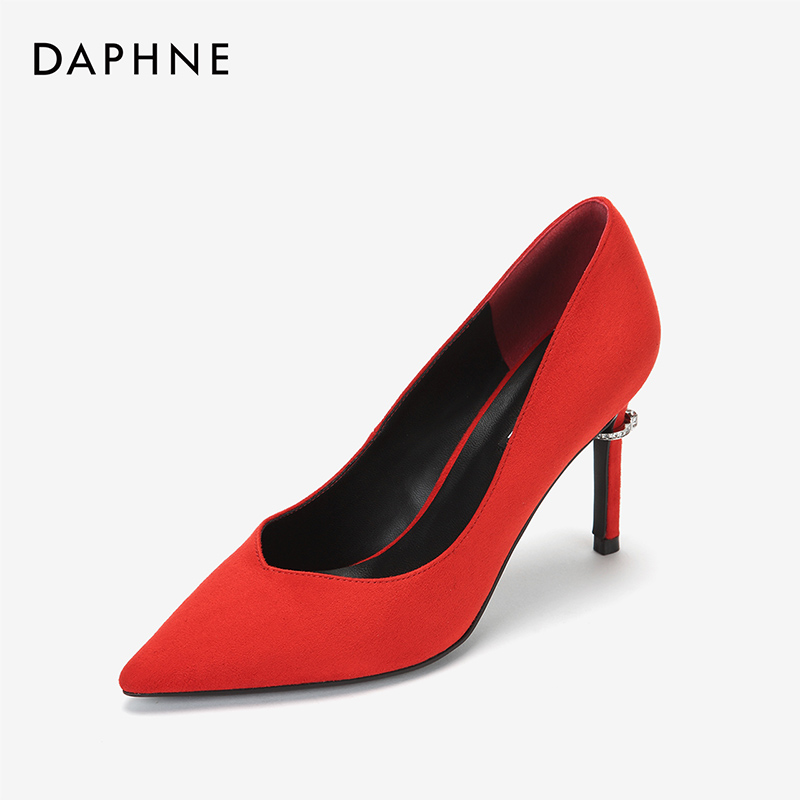 Daphne genuine spring 2019 new single shoes women sexy creative personality ring heel suede high heel womens shoes